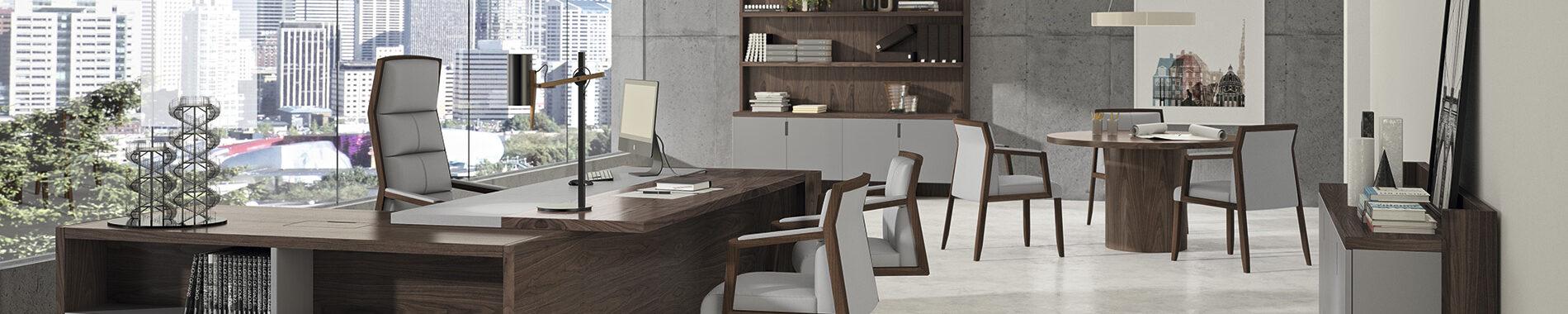 Despacho-mesa-presidencial-Freeport-nogal-natural-y-sillones-Square-en-piel-gris-07